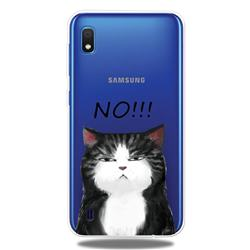 Cat Say No Clear Varnish Soft Phone Back Cover for Samsung Galaxy A10