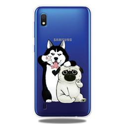 Selfie Dog Clear Varnish Soft Phone Back Cover for Samsung Galaxy A10