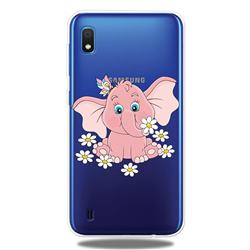 Tiny Pink Elephant Clear Varnish Soft Phone Back Cover for Samsung Galaxy A10