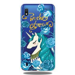 Blue Flower Unicorn Clear Varnish Soft Phone Back Cover for Samsung Galaxy A10