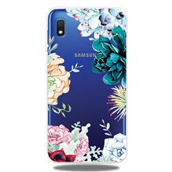 Gem Flower Clear Varnish Soft Phone Back Cover for Samsung Galaxy A10