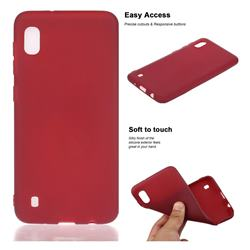 Soft Matte Silicone Phone Cover for Samsung Galaxy A10 - Wine Red