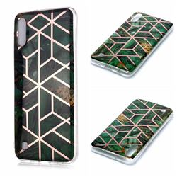Green Rhombus Galvanized Rose Gold Marble Phone Back Cover for Samsung Galaxy A10