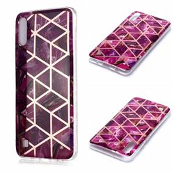 Purple Rhombus Galvanized Rose Gold Marble Phone Back Cover for Samsung Galaxy A10