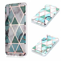Green White Galvanized Rose Gold Marble Phone Back Cover for Samsung Galaxy A10