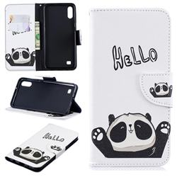 Hello Panda Leather Wallet Case for Samsung Galaxy A10