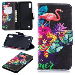 Flowers Flamingos Leather Wallet Case for Samsung Galaxy A10