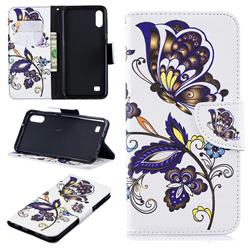 Butterflies and Flowers Leather Wallet Case for Samsung Galaxy A10