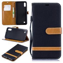 Jeans Cowboy Denim Leather Wallet Case for Samsung Galaxy A10 - Black