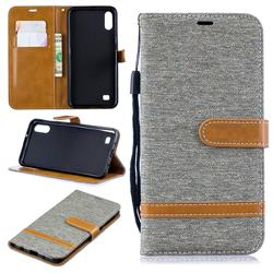 Jeans Cowboy Denim Leather Wallet Case for Samsung Galaxy A10 - Gray