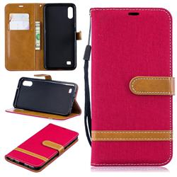 Jeans Cowboy Denim Leather Wallet Case for Samsung Galaxy A10 - Red