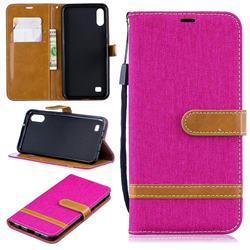 Jeans Cowboy Denim Leather Wallet Case for Samsung Galaxy A10 - Rose