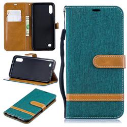 Jeans Cowboy Denim Leather Wallet Case for Samsung Galaxy A10 - Green