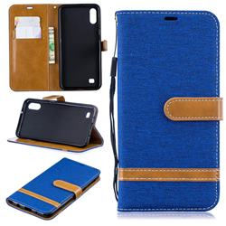 Jeans Cowboy Denim Leather Wallet Case for Samsung Galaxy A10 - Sapphire