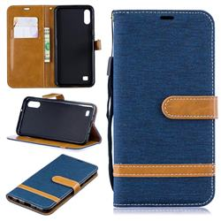 Jeans Cowboy Denim Leather Wallet Case for Samsung Galaxy A10 - Dark Blue