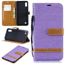 Jeans Cowboy Denim Leather Wallet Case for Samsung Galaxy A10 - Purple