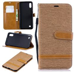 Jeans Cowboy Denim Leather Wallet Case for Samsung Galaxy A10 - Brown