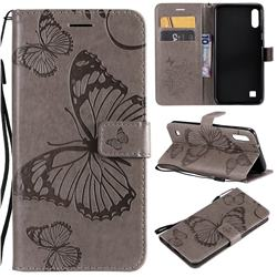 Embossing 3D Butterfly Leather Wallet Case for Samsung Galaxy A10 - Gray
