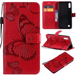Embossing 3D Butterfly Leather Wallet Case for Samsung Galaxy A10 - Red