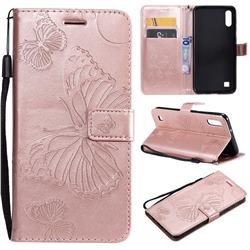 Embossing 3D Butterfly Leather Wallet Case for Samsung Galaxy A10 - Rose Gold