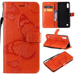 Embossing 3D Butterfly Leather Wallet Case for Samsung Galaxy A10 - Orange
