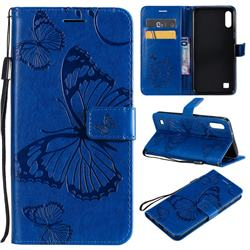 Embossing 3D Butterfly Leather Wallet Case for Samsung Galaxy A10 - Blue