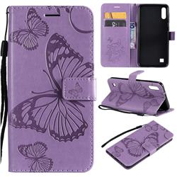Embossing 3D Butterfly Leather Wallet Case for Samsung Galaxy A10 - Purple