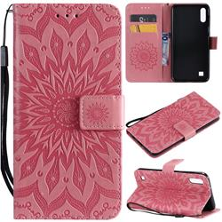 Embossing Sunflower Leather Wallet Case for Samsung Galaxy A10 - Pink