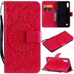 Embossing Sunflower Leather Wallet Case for Samsung Galaxy A10 - Red