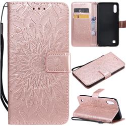 Embossing Sunflower Leather Wallet Case for Samsung Galaxy A10 - Rose Gold