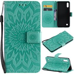 Embossing Sunflower Leather Wallet Case for Samsung Galaxy A10 - Green