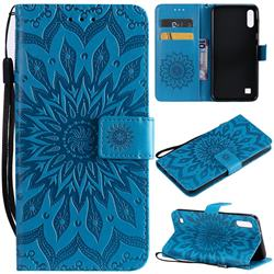 Embossing Sunflower Leather Wallet Case for Samsung Galaxy A10 - Blue