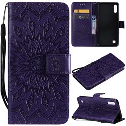 Embossing Sunflower Leather Wallet Case for Samsung Galaxy A10 - Purple