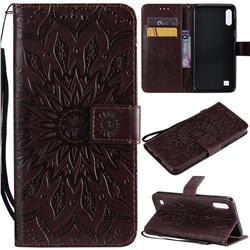 Embossing Sunflower Leather Wallet Case for Samsung Galaxy A10 - Brown