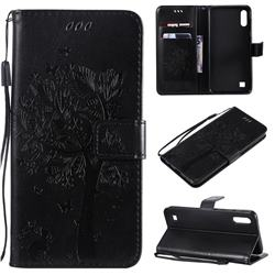 Embossing Butterfly Tree Leather Wallet Case for Samsung Galaxy A10 - Black