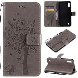 Embossing Butterfly Tree Leather Wallet Case for Samsung Galaxy A10 - Grey