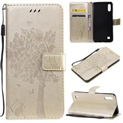 Embossing Butterfly Tree Leather Wallet Case for Samsung Galaxy A10 - Champagne