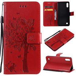Embossing Butterfly Tree Leather Wallet Case for Samsung Galaxy A10 - Red