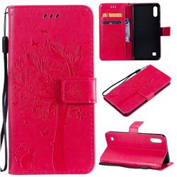 Embossing Butterfly Tree Leather Wallet Case for Samsung Galaxy A10 - Rose