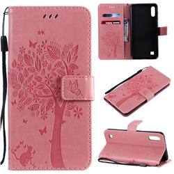 Embossing Butterfly Tree Leather Wallet Case for Samsung Galaxy A10 - Pink