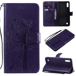 Embossing Butterfly Tree Leather Wallet Case for Samsung Galaxy A10 - Purple