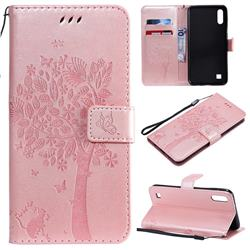 Embossing Butterfly Tree Leather Wallet Case for Samsung Galaxy A10 - Rose Pink