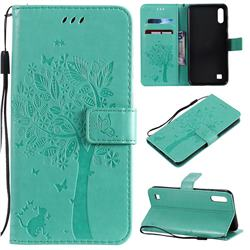 Embossing Butterfly Tree Leather Wallet Case for Samsung Galaxy A10 - Cyan