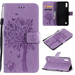 Embossing Butterfly Tree Leather Wallet Case for Samsung Galaxy A10 - Violet