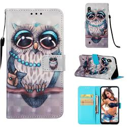 Sweet Gray Owl 3D Painted Leather Wallet Case for Samsung Galaxy A10