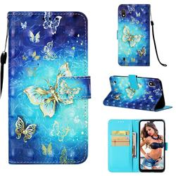 Gold Butterfly 3D Painted Leather Wallet Case for Samsung Galaxy A10