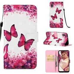 Rose Butterfly 3D Painted Leather Wallet Case for Samsung Galaxy A10