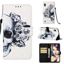 Skull Flower 3D Painted Leather Wallet Case for Samsung Galaxy A10