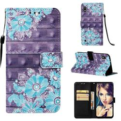 Blue Flower 3D Painted Leather Wallet Case for Samsung Galaxy A10