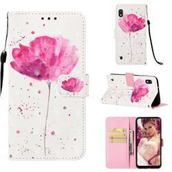 Watercolor 3D Painted Leather Wallet Case for Samsung Galaxy A10